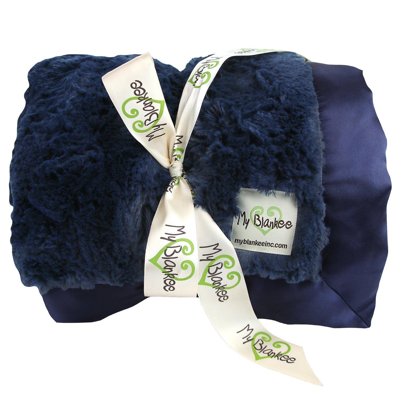 My Blankee Luxe Bella Extra Large Throw Blanket, Navy, 59...