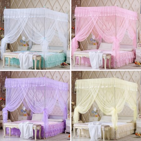 Four Corner Post Mosquito Net, Elegant & Breathable Bed Netting Curtain Panel Decorative Bed Canopy Drape
