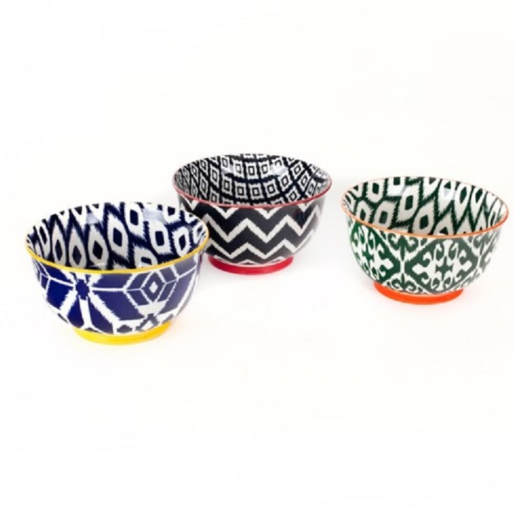 3 Pcs. High Quality Large 6 Inch Porcelain Cereal Soup Pasta Bowl Set by