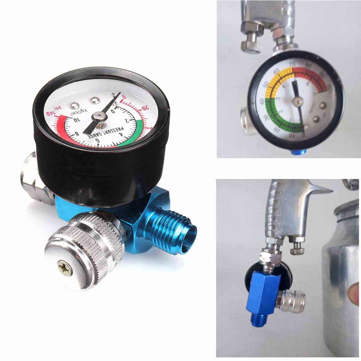 1/4 Inch Air Pressure Regulator Relief with Gauge Hose Quick Release Compressor Fitting