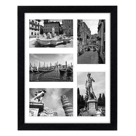 Collage Picture Frame 11x14 - Displays Five 4x6 Inch Pictures with Mat and Glass -