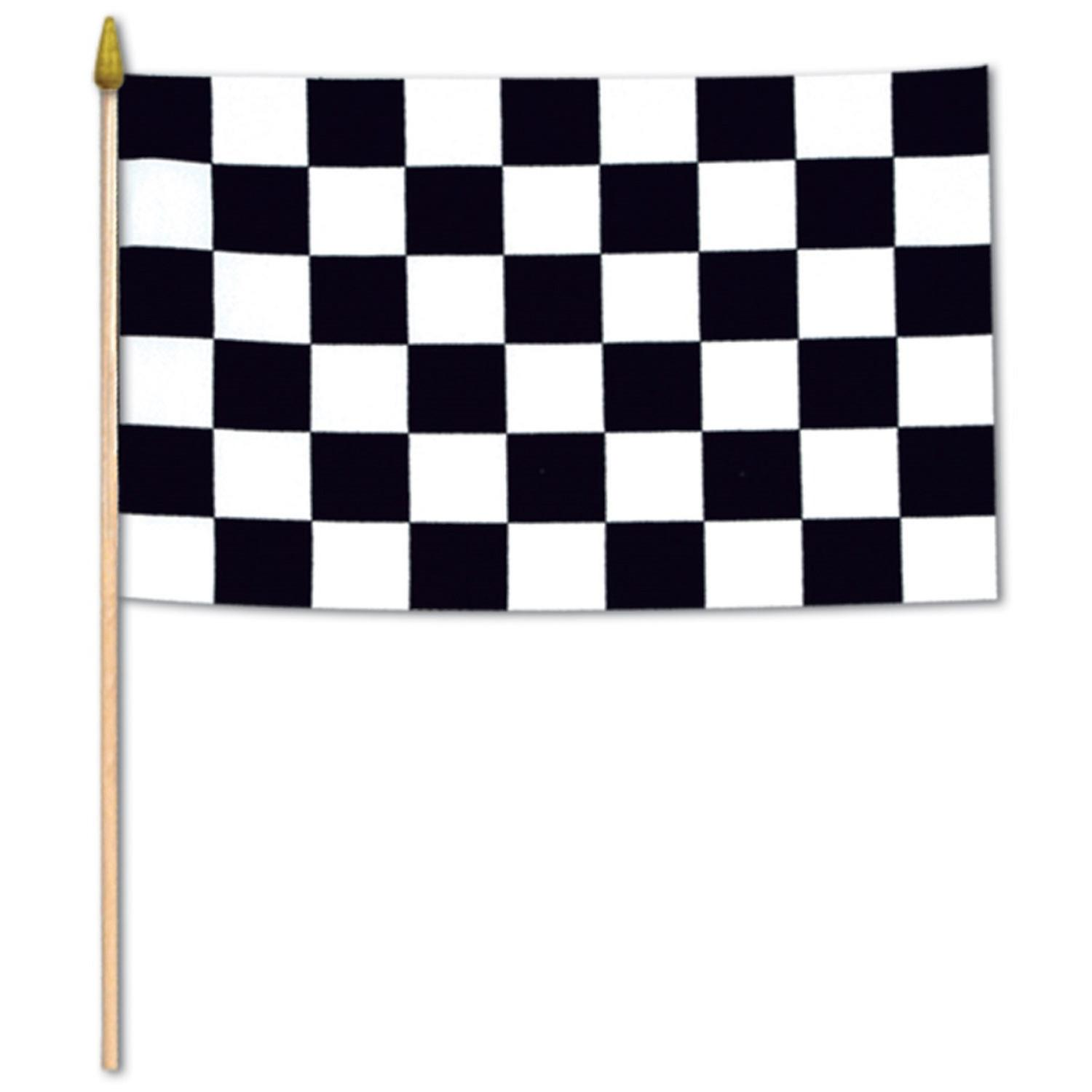 Club Pack of 12 Race Track Themed Black and White Checkered Flag Party Decorations 22""