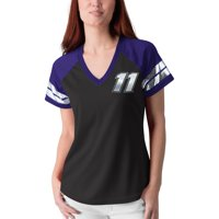 Denny Hamlin G-III 4Her by Carl Banks Women's Franchise Raglan V-Neck T-Shirt - Black/Purple