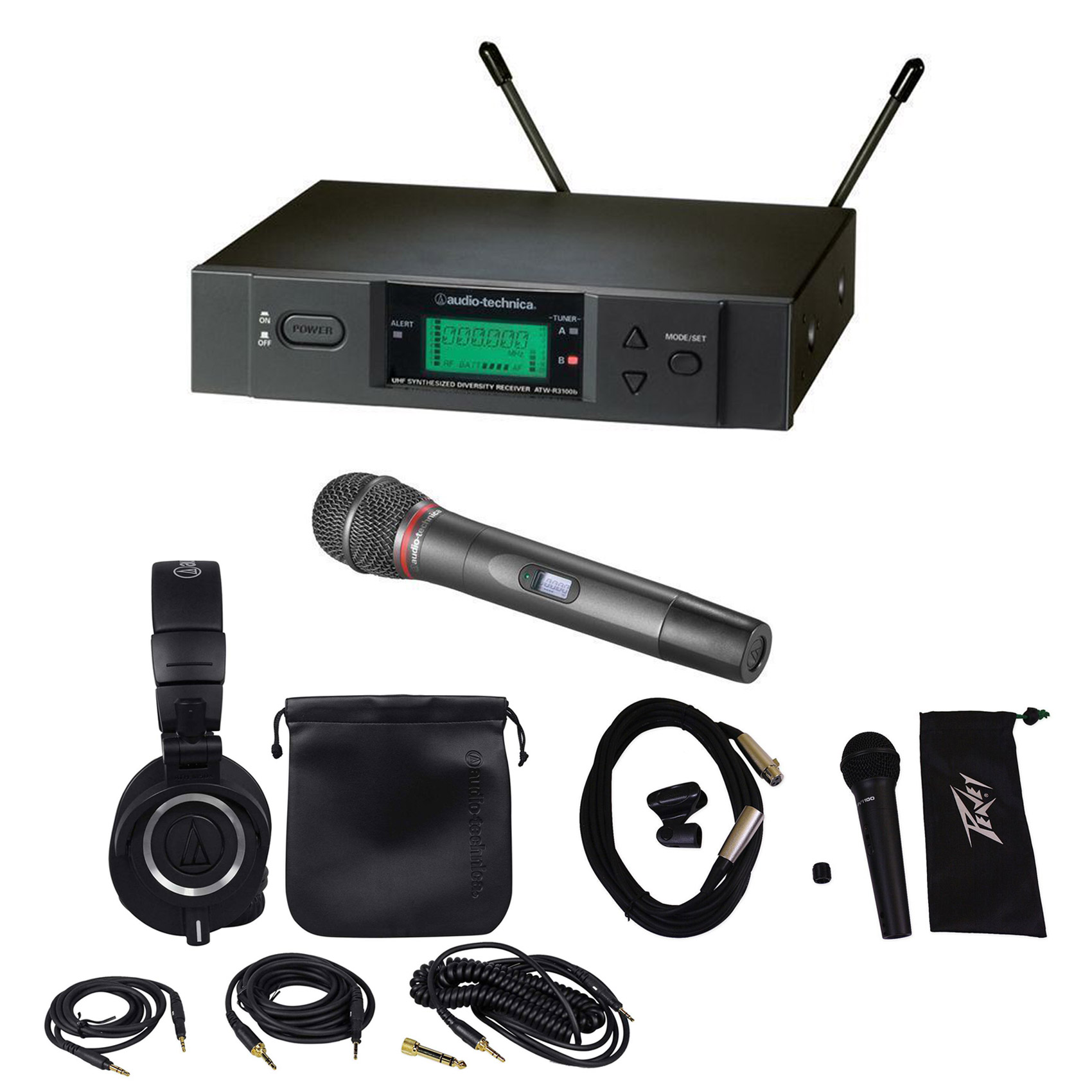 Audio Technica ATW-3141BD UHF Wireless Handheld Microphone+Headphones+Extra Mic by Audio Technica