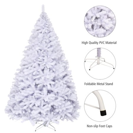 Topbuy 9ft White Christmas Pine Tree Pre-Lit Hinged Artificial Decoration w/ 2132 Tips & Metal Stand ()