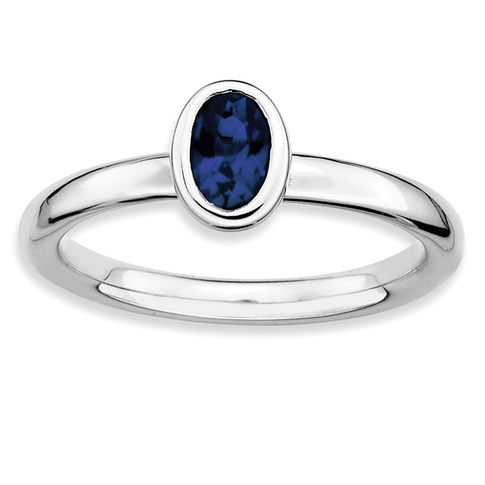 Sterling Silver Stackable Expressions Oval Simulated Sapphire Ring