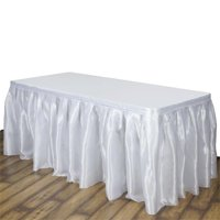Efavormart Wholesale Premium Satin Table Skirt for Kitchen Dining Catering Wedding Birthday Party Decorations Events