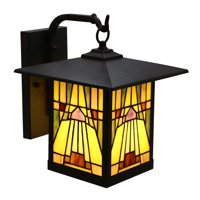 River of Goods Phoenix 1-Light Bronze Outdoor Mission Stained Glass Wall Sconce