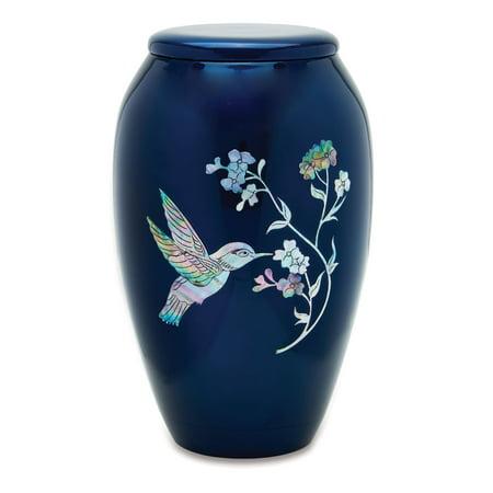 Urnsdirect2u Blue Hummingbird Adult Cremation Urn, 220 cubic inches