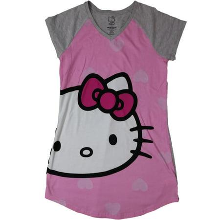 Hello Kitty Nightgown - Womens Hello Kitty Kitten Cat Pink & Gray Nightgown Knit Sleep Shirt Large