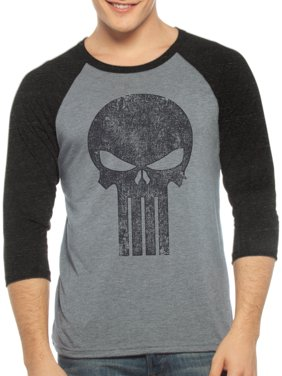 1b7b85c1 Product Image Punisher Men's 3 Quarter Sleeve Raglan Graphic Shirt, up to  Size 2XL