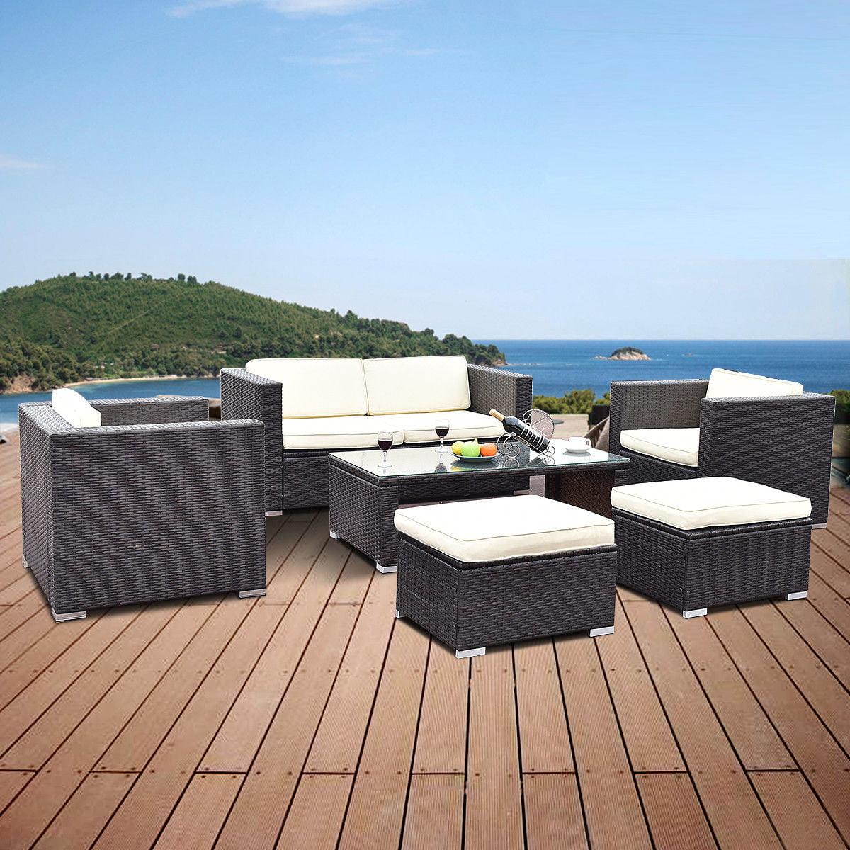 Costway 6 PCS Patio Rattan Wicker Furniture Set Loveseat Ottoman Cushioned Garden by Costway
