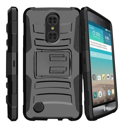 Lg Fortune Case   Lg Phoenix 3 Case   Lg K4 2017 Only   Lg V1   Clip Armor   Dual Layer Case Rugged Exterior With Built In Kickstand   Holster   Black