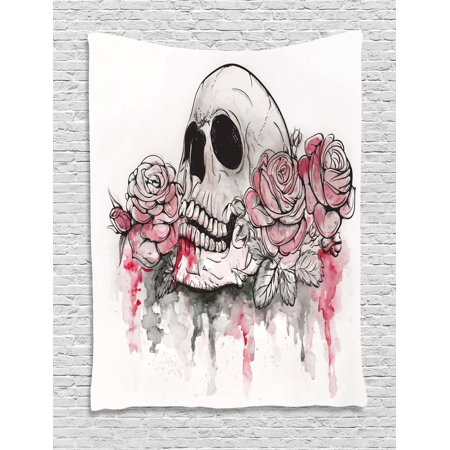 Day Of The Dead Tapestry, Print of Skull Dead with Romantic Roses Celebration Day Festive, Wall Hanging for Bedroom Living Room Dorm Decor, White Pale Pink Black, by Ambesonne