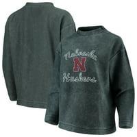 Nebraska Cornhuskers Concepts Sport Women's Jetway Mineral Wash Corduroy Crew Neck Sweatshirt - Charcoal