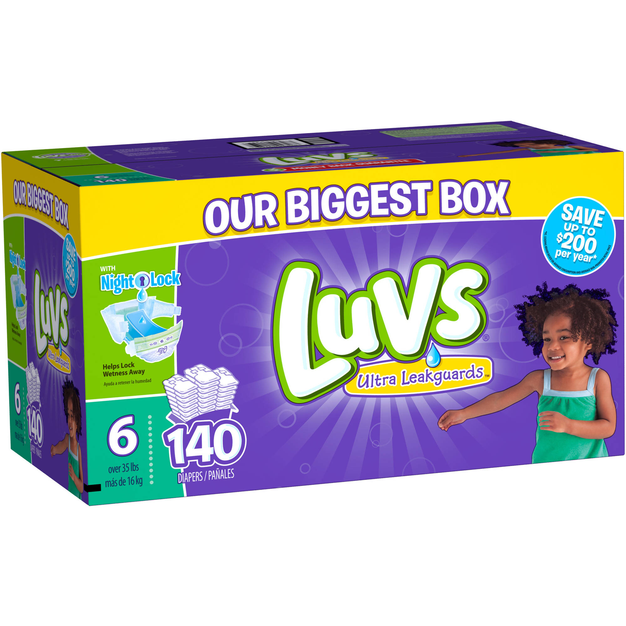 Luvs Ultra Leakguards Diapers, Size 6, 140 Diapers