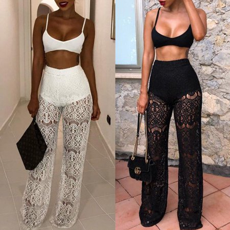 Summer Women Sexy Patchwork Lace High Waist See Through Wide Leg Long Beach Pants Casual Loose Solid Trousers Summer Clothes