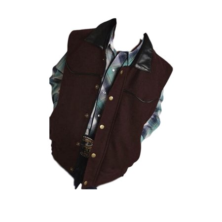 Roper Western Vest Boys Zip Faux Leather Brown 03-094-0545-0200 BR