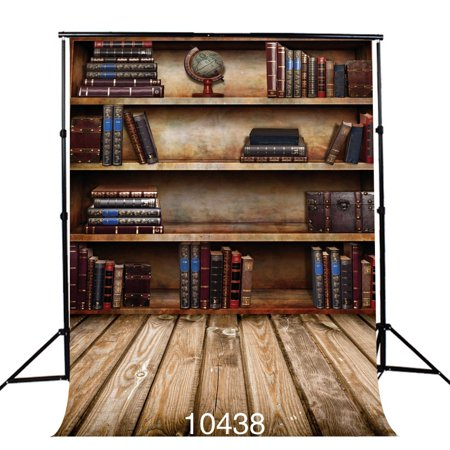 GreenDecor Polyster 5x7ft Retro Bookshelf Photography Background Photo Backdrop Studio Props