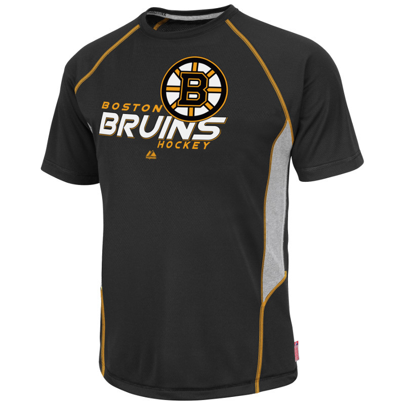 Boston Bruins Black Overtime Victory Cool Base Synthetic T-Shirt (S) by Majestic