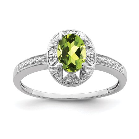 Sterling Silver Diamond Peridot Ring