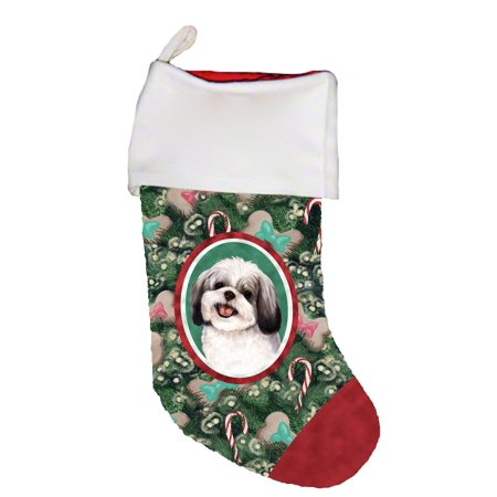 Best Stocking (Shih Tzu Black/White -  Best of Breed Dog Breed Christmas)