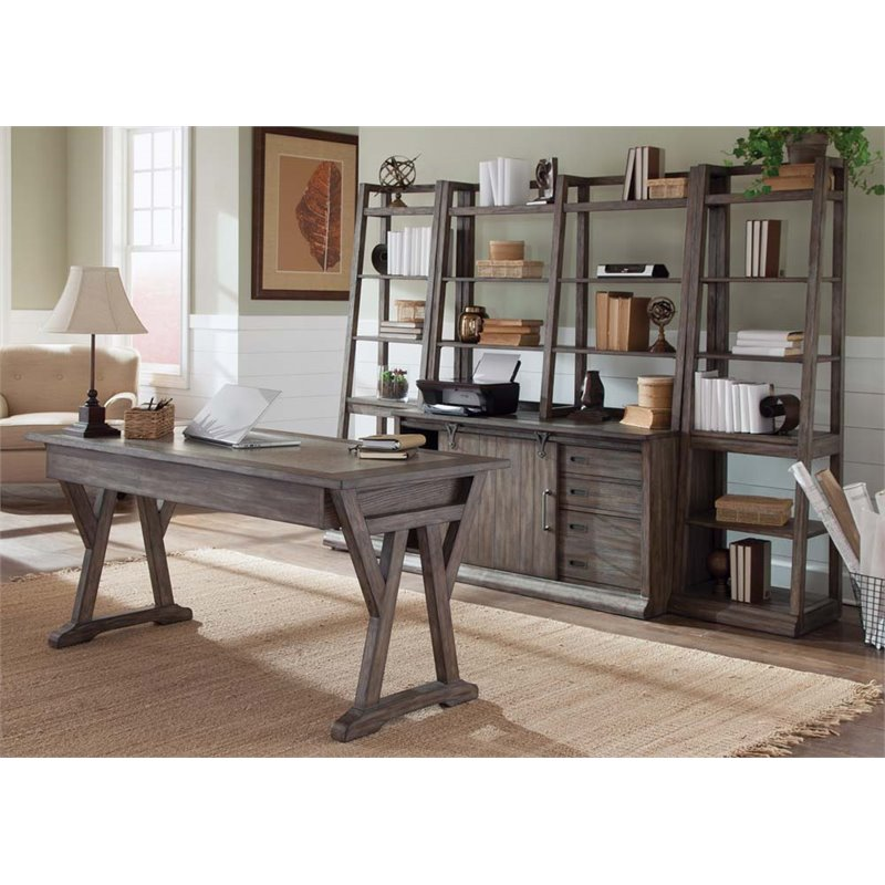 Liberty Furniture Stone Brook 5 Piece Home Office Set in Rustic Saddle