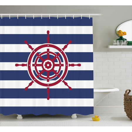 Nautical Shower Curtain Set Illustration Of Ship Wheel Icon On A Stripped Background Fashionable Decorating