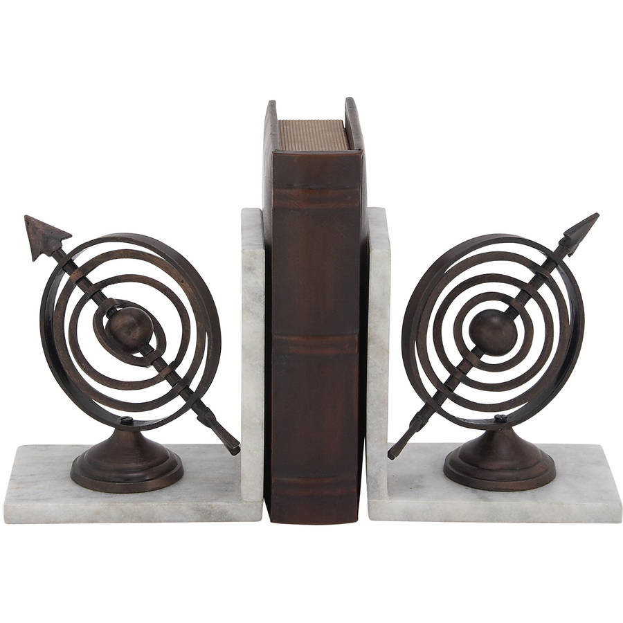 Decmode Aluminum Marble Bookend Pair, Multi Color by DecMode