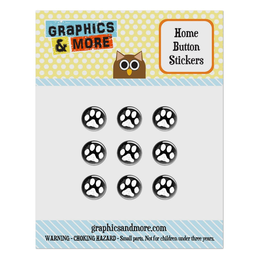 Paw Print Distressed Black White Home Button Stickers Set Fit Apple iPhone iPad iPod Touch