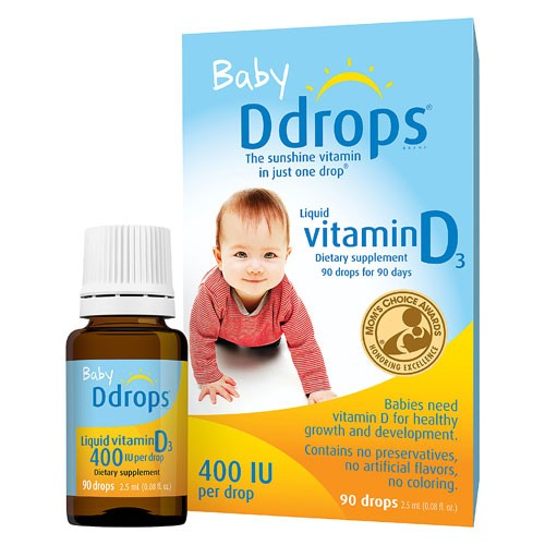 Baby D Drops Liquid Vitamin D3 400 IU/Drop, 90 Drops-3 Pack