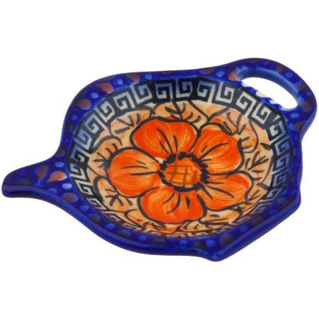 Polish Pottery 4¼-inch Tea Bag or Lemon Plate (Fire Poppies Theme) Signature UNIKAT Hand Painted in Boleslawiec, Poland + Certificate of (Fire Tea Plate)