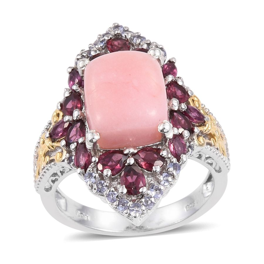 Pink Opal Rhodolite Garnet Tanzanite 14K YG and Platinum Plated Sterling Silver Ring by Shop LC