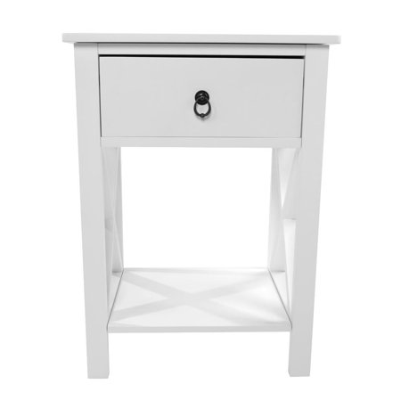 Ktaxon Side Intersection Style Bedside Table Coffee Table with Two-layer Drawer White