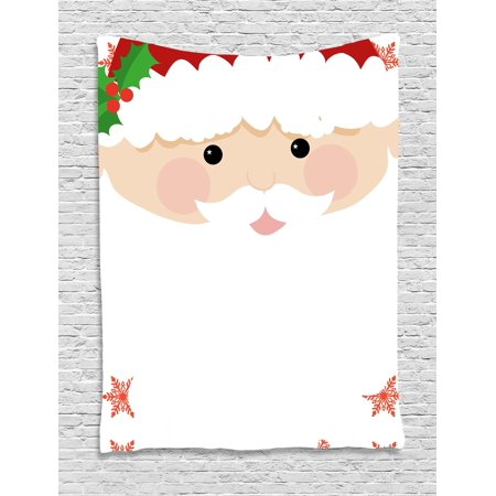 Kids Christmas Tapestry, Cartoon Face of Santa with Pink Cheeks White Beard and Mistletoe on His Hat, Wall Hanging for Bedroom Living Room Dorm Decor, 40W X 60L Inches, Multicolor, by Ambesonne](Kid With Beard)