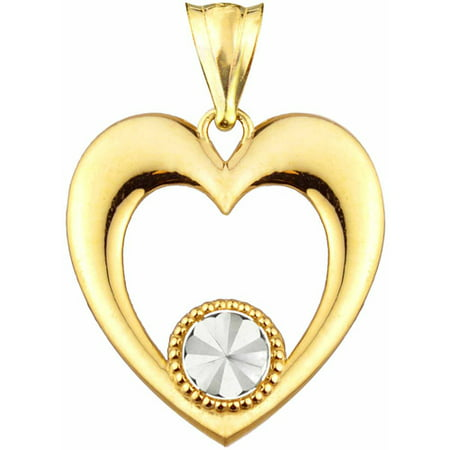 Handcrafted 10kt Gold Polished Heart With Diamond-Cut Accent Charm Pendant