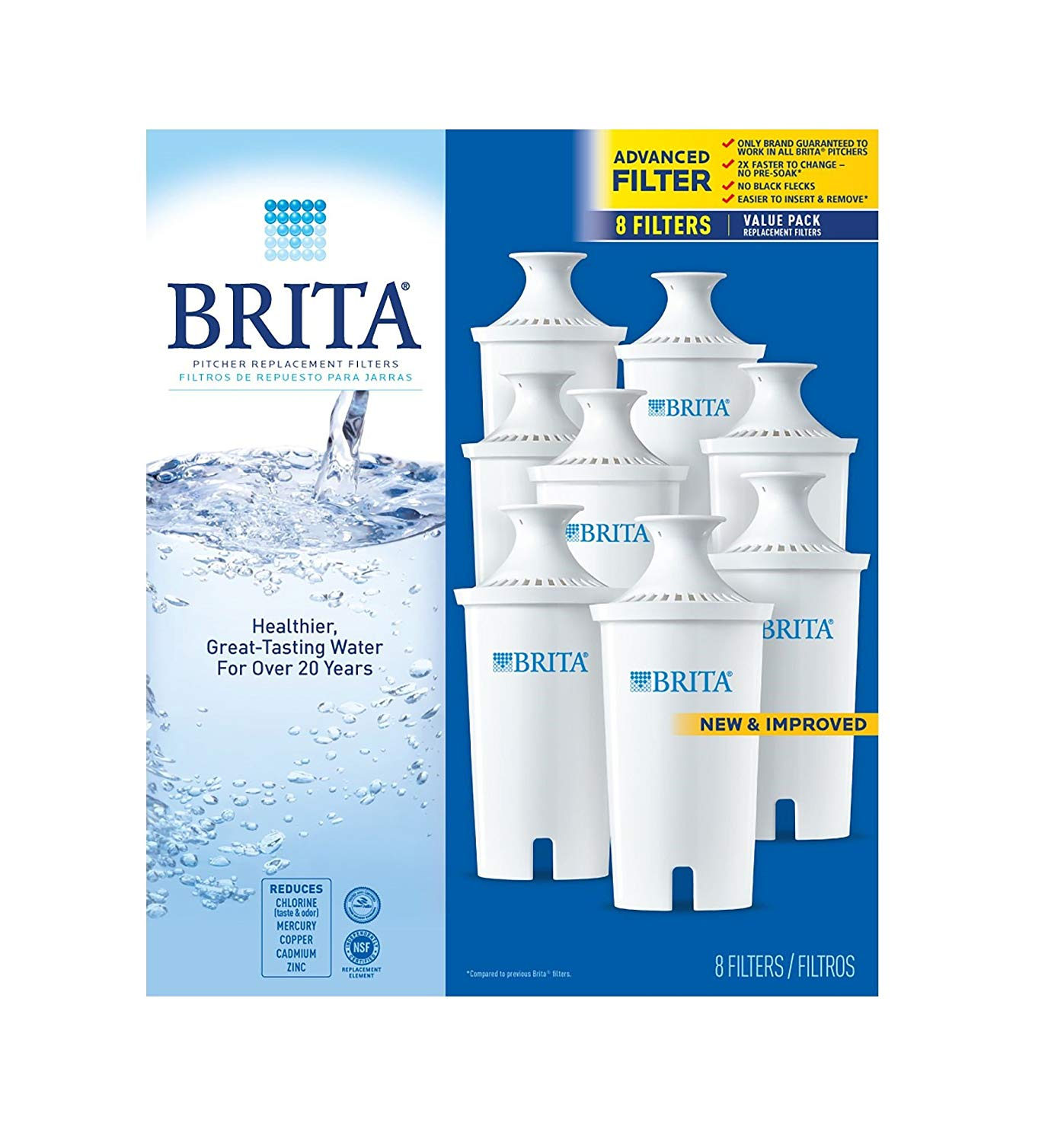 Pitcher Replacement Filters,white,8 pack, Brita Pitcher Replacement Filters - 8 ct. By Brita