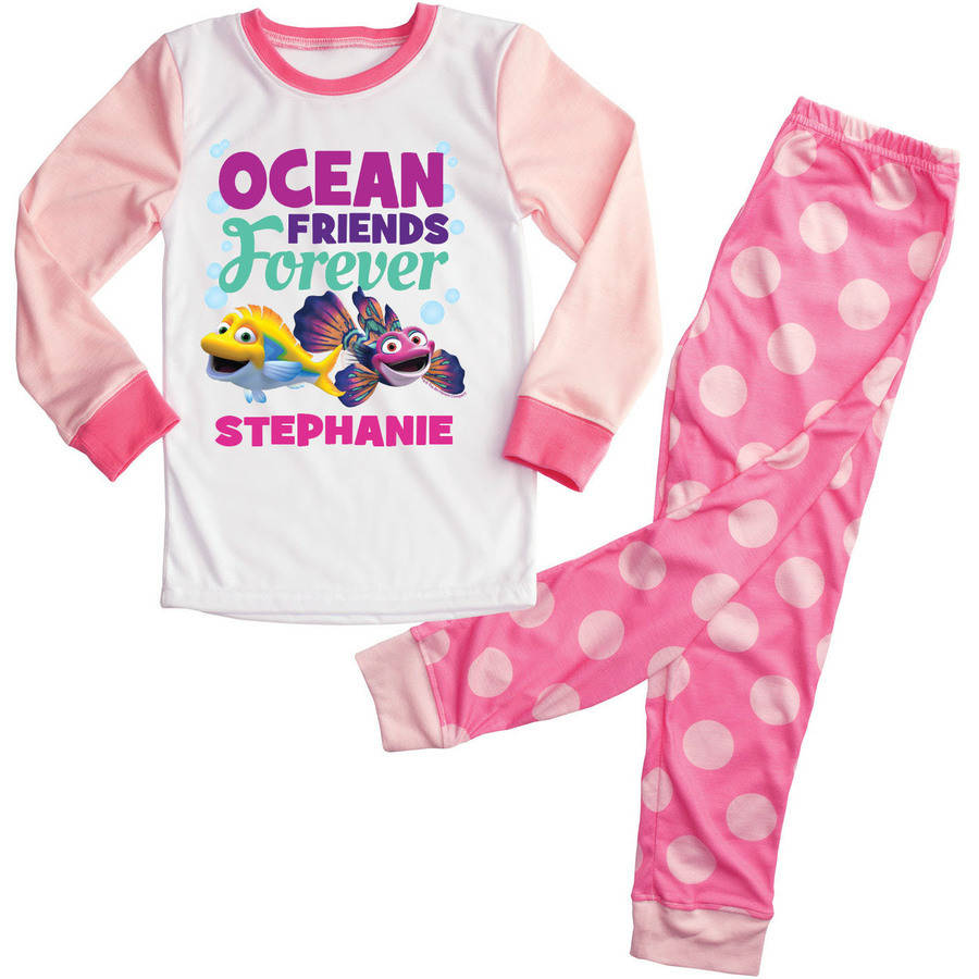 Personalized Splash and Bubbles Pink Toddler Girl Pajama Set