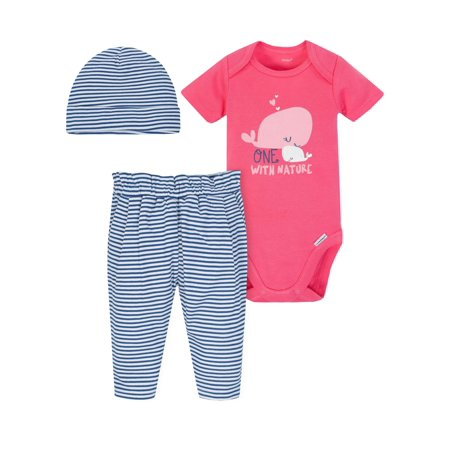 bd7c96e81 Gerber - Onesies Bodysuit, Pants and Cap, 3pc Outfit Set (Baby Girls) -  Walmart.com