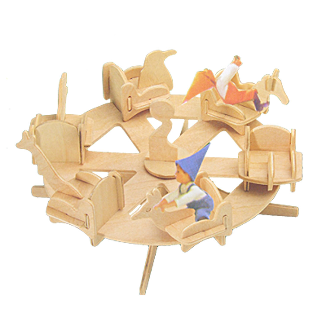 Wooden Roundabout Tumtable DIY Puzzle Toy for