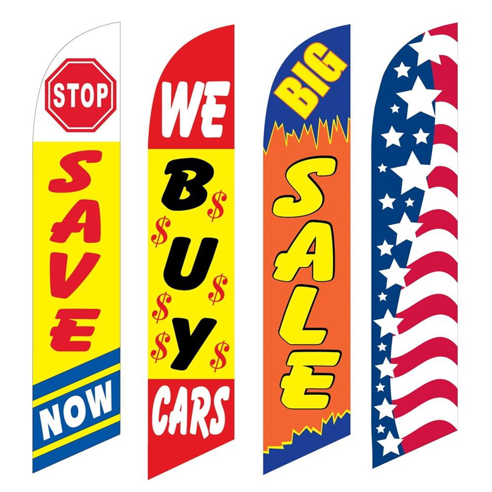 4 Advertising Swooper Flags Save Now We Buy Cars Big Sale Patriotic