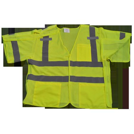 Petra Roc LVM3-5PB-L-XL Safety Vest Lime Mesh Ansi-Isea Class 3 207-2006, 5-Point Breakaway, Large & Extra Large