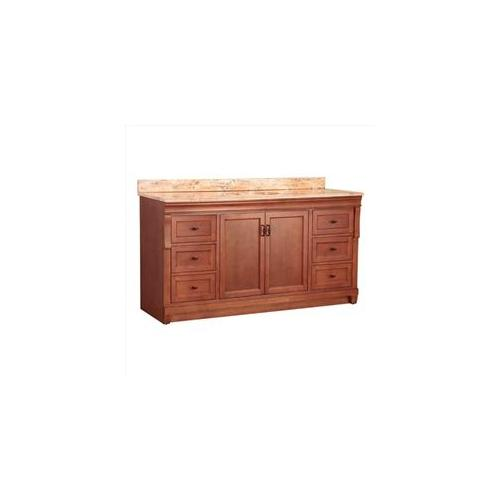 Foremost Group NACASEB6122D1 61 inch x 22 inch Naples Single Basin Vanity in Warm Cinnamon and Vanity Top with Stone Effec
