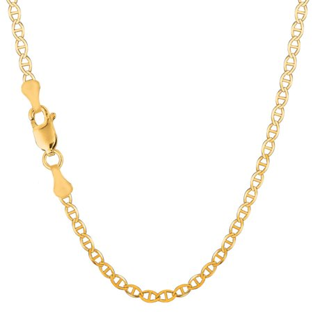 Men's 10K Yellow Gold 3.2mm Solid Flat Mariner Link Chain Necklace 16