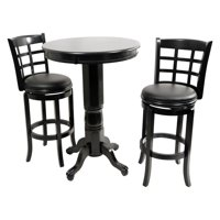 Boraam Kyoto 3 Piece Pub Table Set - Black Sandthru