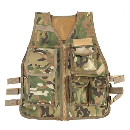 Children Tactical Vest Nylon Shooting Hunting Molle Clothes CS Game Field Combat Training Protective Vest Camo Field Trainer