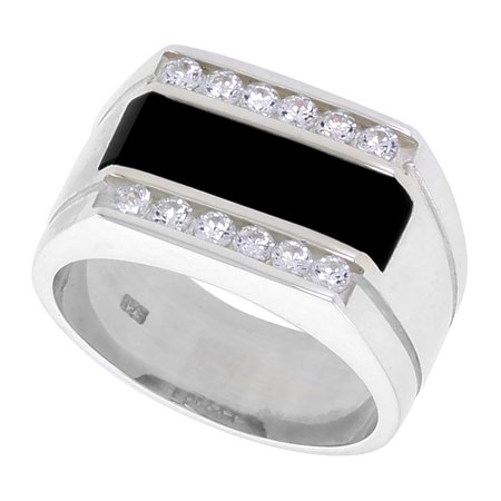 Mens Sterling Silver Onyx Ring (Sterling Silver Mens Rectangular Black Onyx Ring 2 Grooves CZ Accent 1/2 inch wide, sizes 8 -)