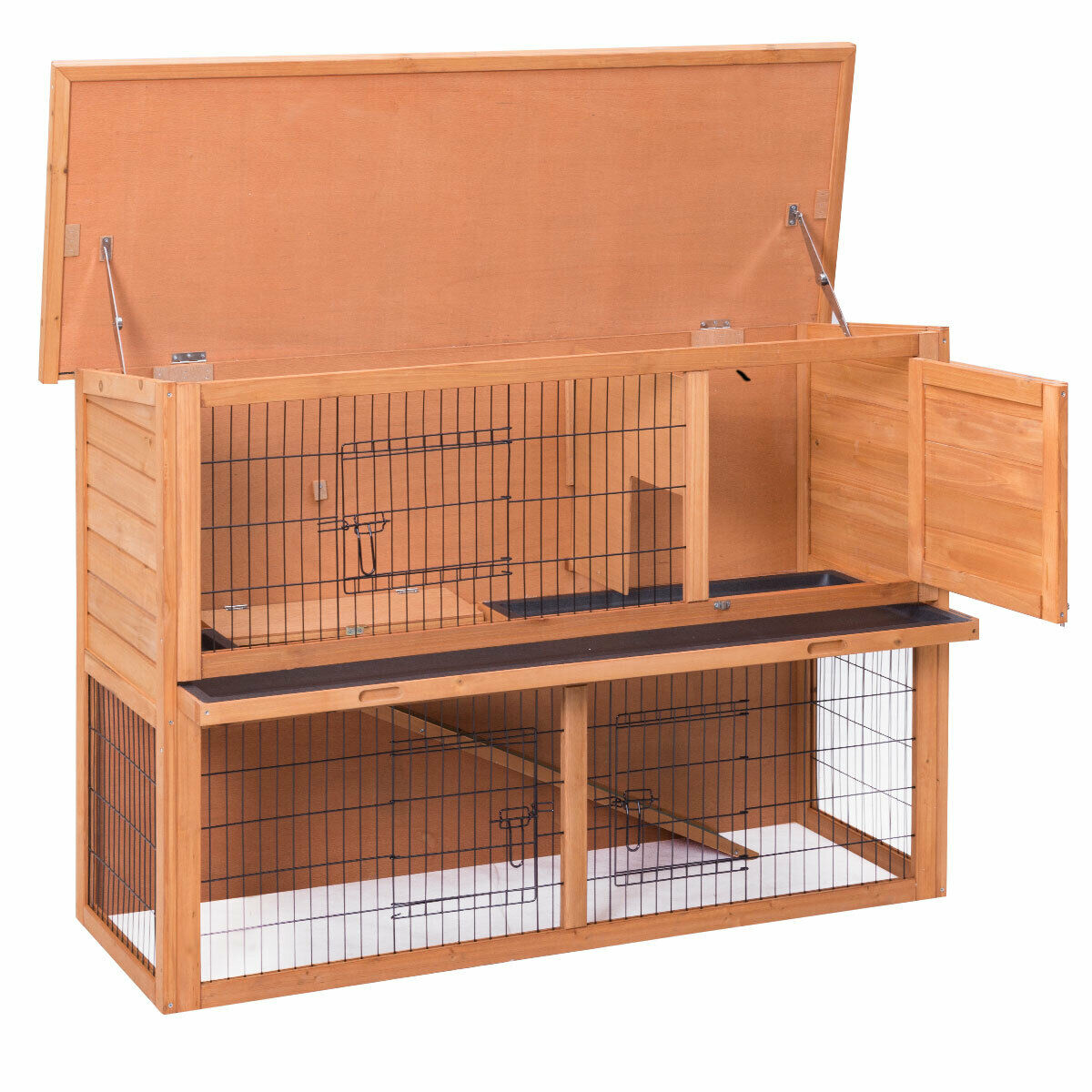 Gymax Large Chicken Coop Rabbit Hutch Garden Backyard Wood Hen House Poultry Cage - image 7 of 10