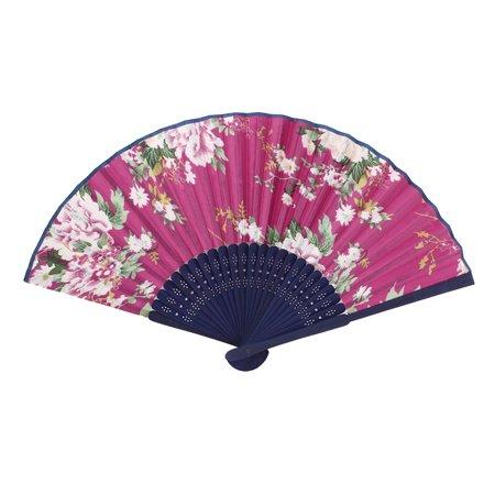 Blue Hand Fan (Wood Ribs Chinese Style Bridal Party Summer Folding Hand Fan Fuchsia Royal)