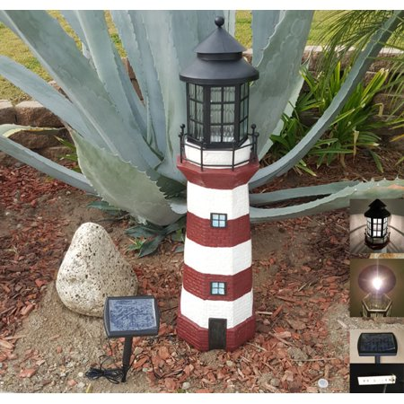 Asc Solar Lighthouse Garden Figurine Light House Gray Color 36 Tall Led